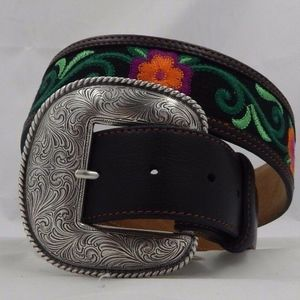 Justin Las Flored Taper Leather Belt Small (30)
